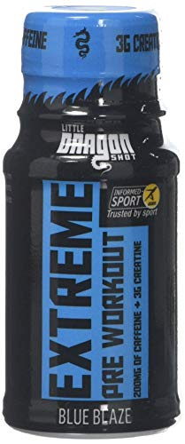 Little Dragon Extreme Pre Workout Shot, Blue Raspberry, 60 ml, Pack of 12