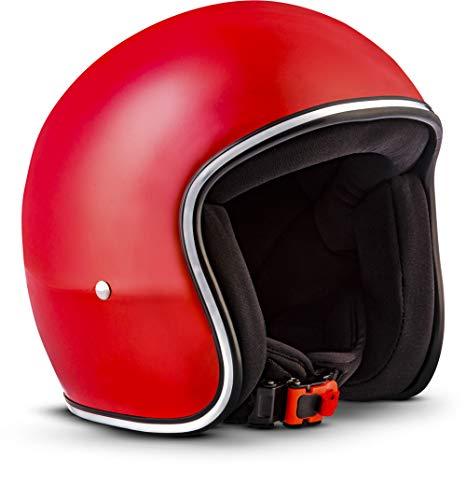 "Rebel · R2 ""Red"" (Rot) · Jet-Helm · Retro Chopper Motorrad-Helm Scooter-Helm Mofa Roller · Fiberglass · Extra small Shell · Click-n-Secure™ Clip · Tragetasche · S (55-56cm)"