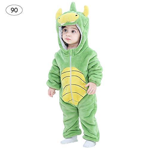 Rubuy baby jongens meisjes dier kostuum, baby pyjama's nachtkleding outfit met capuchon, flanel rompler overall jumpsuit kleine kinderen bodysuits outfits eendelig jack 0-24 maanden, ritssluiting 90 groene dino's