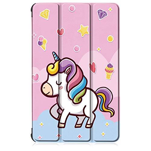 Xuanbeier Custodia per Samsung Galaxy Tab S6 Lite 10.4' SM-P610 SM-P615 Ultra-Sottile Cover con Funzione Supporto con Sleep/Wake Automatica,Unicorno