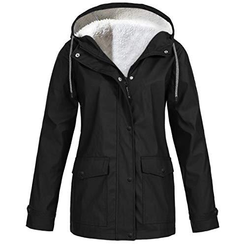 WYZTLNMA Womens Plus Size Solid Rain Jacket Outdoor Hoodie Waterproof Long Coat Women Rain Coats Long Hiking Hooded Jackets Black