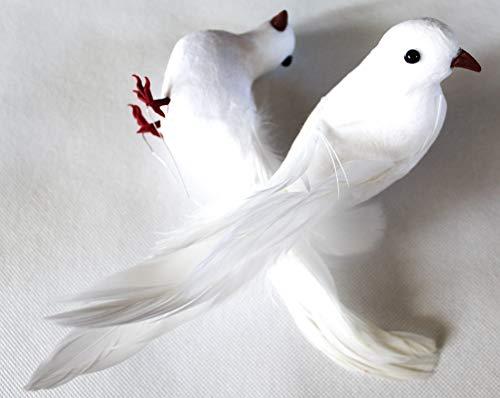 Weiße Tauben Taubenpaar Hochzeitstaubenpaar Hochzeit Dekovögel Clip Klammer Draht (2 Stück, 18 cm Draht)