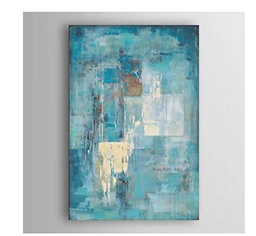 póster Art Prints Pinturas abstractas pintadas Lienzo Arte Pintura al óleo Azul Turquesa decoración del hogar Cuadros artísticos de Pared Carteles Pintura de pared30x40cm (12x16inch)