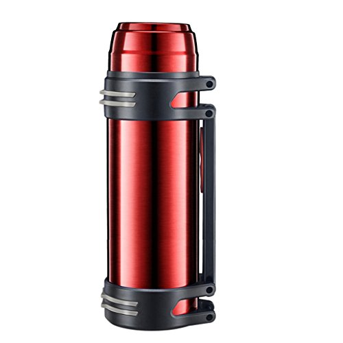 Bouteille isotherme en acier inoxydable bouteille d'eau de voyage des hommes tasses de grande capacité des hommes et des femmes bouteille d'aspiration extérieure portable (Color : Red, Size : 2500ml)