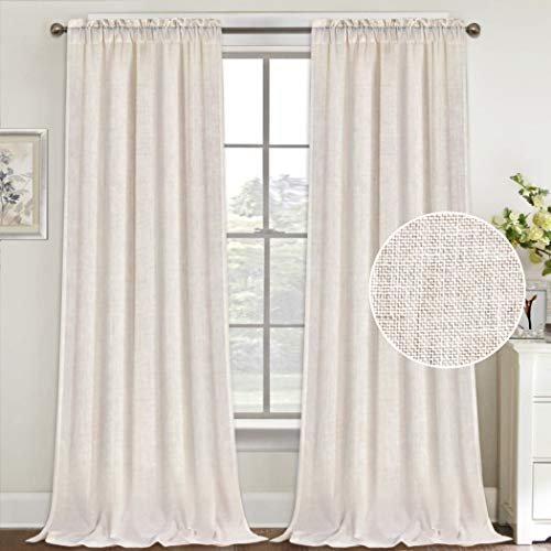 Natural Linen Curtains 108 Inches Extra Long Rod Pocket Semi Sheer Curtain Drapes Elegant Casual Linen Textured Window Draperies, Light Filtering Privacy Added Home Fashion 2 Panels, Natural