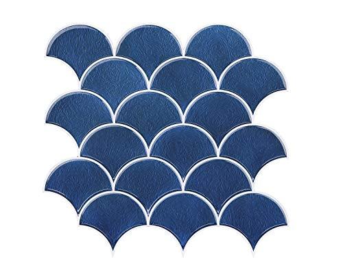 FUNWALTILES Fish Scale Design Premium Peel and Stick Wall Tile Backsplash,10X10in,10Sheets,Blue