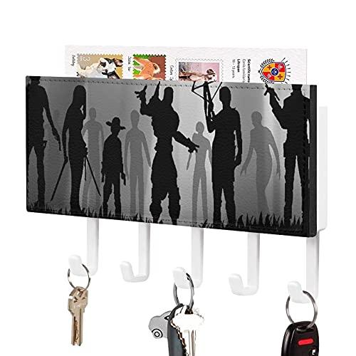 Soporte para llaves,Gancho para llaves montado en la pared,Un grupo de zombis Terrible The Walking Dead Armas de arco,Organizador de llaves decorativo con 5 ganchos