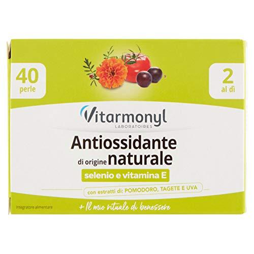 Vitarmonyl Antiossidante di Origine Naturale  Integratore 40 Perle  con Selenio e Vitamina e  Origine Naturale  Registrato Ministero Salute Italiano