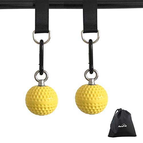 AbraFit Climbing Pull Up Power Ball Hold Grips with Straps Hand Grip Strength Trainer Exerciser - Durable and Anti-Skid Design - Ideal for Bouldering Pull-up Fitness Workout - Free Carry Bag Included