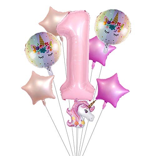 KRUCE 6 Paquetes de Globos de Papel de niña de 1er cumpleaños, Globos de Unicornio y Globos de Papel de Estrella para decoración de Fiesta de cumpleaños para niños