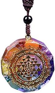 XINGX Siete Chakras Energía Collar de Yoga 7 Chakras Arco Iris Corazón Colgante Collar Cristal Natural Nebulosa Natural Collar Colgante de Cristal de Murano