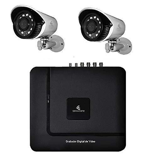secucore Kit CCTV Circuito Cerrado Vigilancia 720p 2 Camaras Bullet