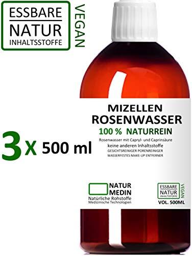 MIZELLEN ROSENWASSER 3x 500-ml, Mizellenwasser, Gesichtswasser, 100% naturrein, nur 2 essbare Inhalsstoffe ohne Zusatzstoffe, wasserfestes Augen Make-up Entferner, 1500-ml (1.5-l) PET nachhaltig