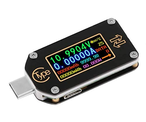MakerHawk USB Power Meter, TC66 USB Tester Bluetooth Type C USB Voltage Meter and Current Tester, 0.96 Inch IPS Color LCD Display Power Tester Multimeter PD Ammeter Voltmeter QC 2.0 3.0