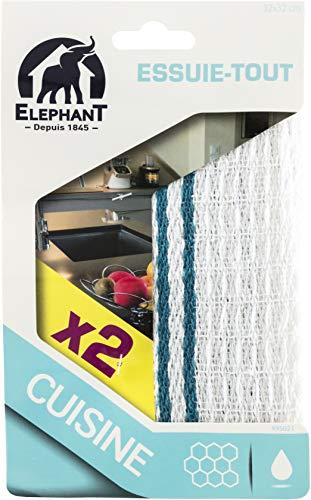 Elephant 2 Essuie-tout Chiffons 32 x 32 cm