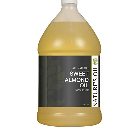 Sweet Almond Oil Gallon - 100% Pure Carrier for Massage, Diluting Essential Oils, Aromatherapy, Hair & Skin Care Benefits, Moisturizer & Softener - by Nature's Oil.