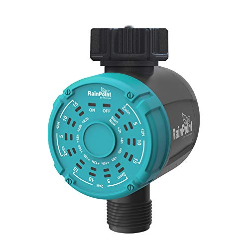RAINPOINT Sprinkler Timer, 1-Outlet Water Timer Hose Timer, Automatic ON Off Irrigation Timer and One Key Irrigation Controller, Water Sprinklers for Outdoor Yard, Garden, Lawns