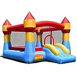 COSTWAY Castillo Hinchable con Tobogán para Niños 370x280x230cm Infantil Juguete para Parque Patio Jardín Sin Soplador