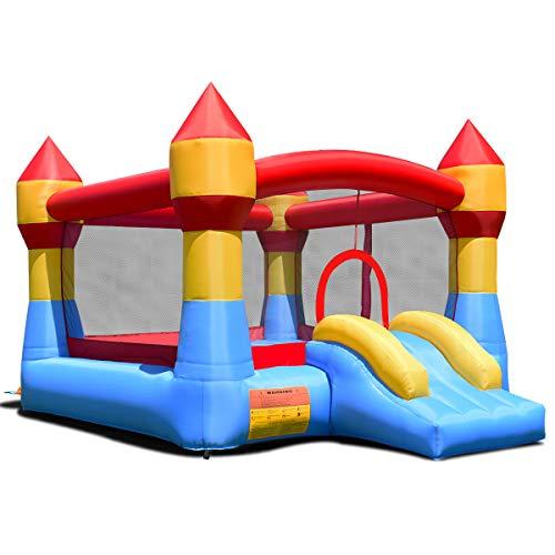 Goplus Hüpfburg aufblasbar, Springburg bunt, Hüpfschloss mit Rutsche, Spielburg für Kinder, 370x280x220cm
