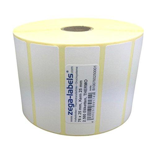 Thermo Etiketten auf Rolle - 76 x 25 mm - 2.580 Stück je Rolle - Kern: 25 mm - aussen gewickelt - permanent haftend - Druckverfahren: Thermodirekt (Drucken ohne Farbband)
