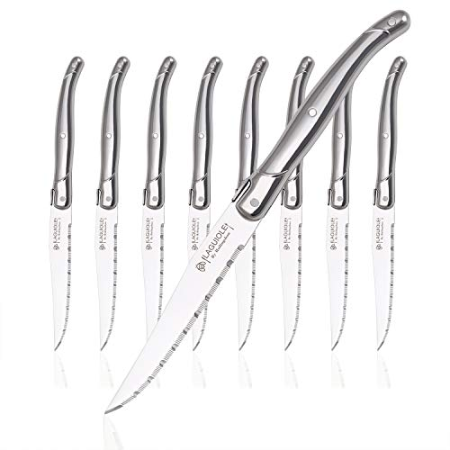 Laguiole by Hailingshan Steak knives Serrated Edge Sharp Light Premium Dishwasher Safe Stainless Steel knife set of 8 Silverware with Gift Box