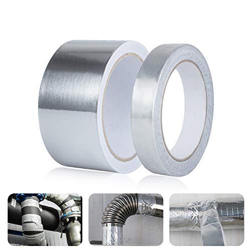 2 Stück Aluminium Klebeband - 50mm*5M+20mm*5M, Alu Duct Tape hitzebeständiges klebeband, Hochwertiges Strapazierfähiges Klebebandvon Lüftungs- und Klimaanlagen