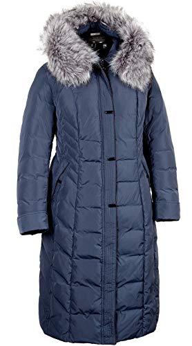 Grimada V707 Damen Winterjacke Mantel in Daunen-Optik VLASTA mit Fellkapuze (48, blau)