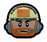 Always Outnumbered Never Outgunned PVC Military Tactical Morale Patch Badges Emblem Applique Hook Patches for Clothes Backpack Accessories (color1)