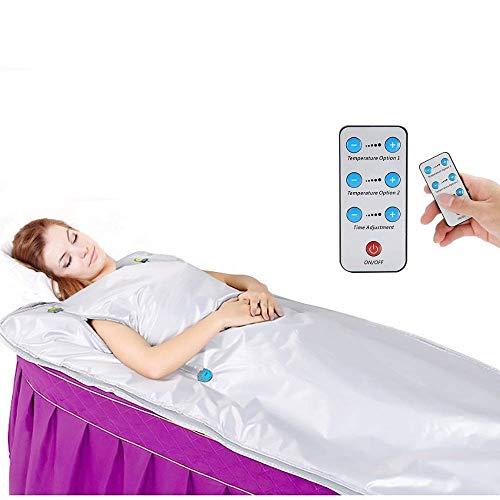 S SMAUTOP Manta de Sauna, Manta de Terapia de Calor Digital de infrarrojo lejano (FIR) de 220 V y 2 Zonas para Ejercicios de Adelgazamiento con Forma de Cuerpo (Cremallera Manual)