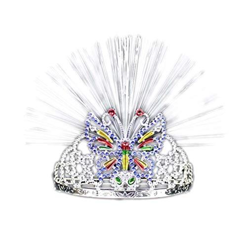 Toyvian LED Krone Leuchtend Schmetterlingskrone Stirnband Haarreif Haarschmuck für Geburtstag Hochzeit Party Schmuck (Silber)