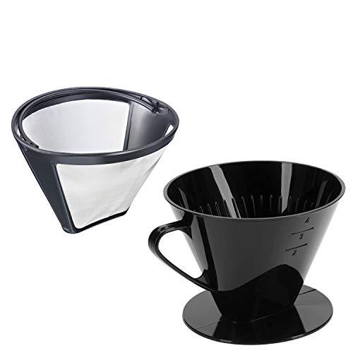 Westmark Kaffee-Set, 2tlg., Dauerfilter + Kaffeefilter Gr.4, Rostfreier Edelstahl/Kunststoff, Kaffee, Four, Silber/Schwarz, 244322E7