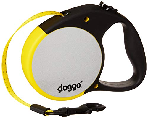 Doggo Reflective Retractable Dog Leash, 16' Long Reflective Belt, Large for Dogs Up to 110 lbs, Neon Yellow with Reflective Accents