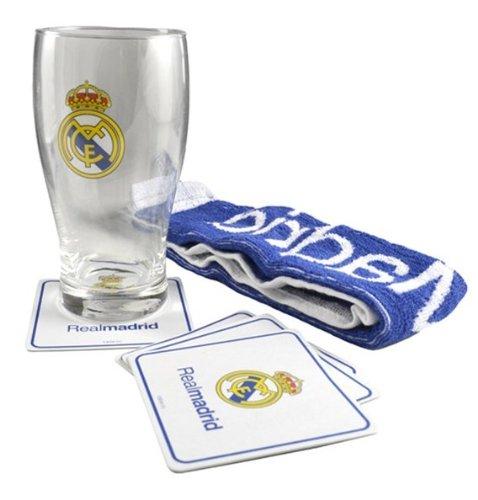 Real Madrid Mini Bar Set (1 bierglas, 4 bierdeksels, 1 stuks badstof handdoek).
