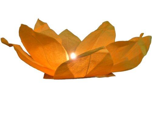 Lanterne flottante en papier thaï orange bougie chauffe plat comprise Nymphea forme fleur de Lotus manifestation nocturne décoration romantique piscine bassin lac fleuve lumière nautique eau mariage anniversaire