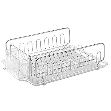 InterDesign Forma Kitchen Dish Drying Rack with Tray – Drainer for Drying Glasses, Silverware and Dishes, Clear/Stainless Steel