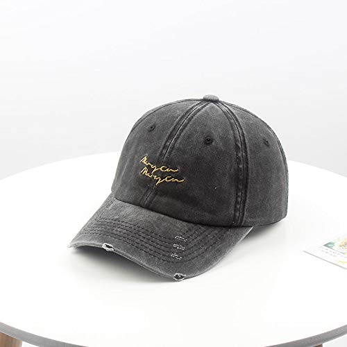 wopiaol Hat female winter Korea Harajuku retro old baseball cap Korean version of the wild letter embroidery washed cap for men