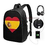 Mochila unisex con puerto de carga USB, diseño de la bandera de España en forma de corazón, estilo clásico