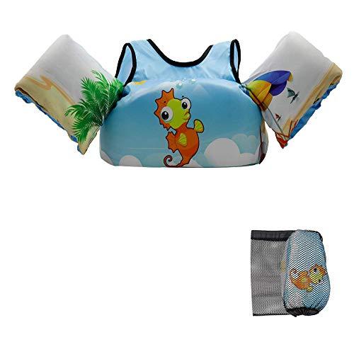 VIEKUU Schwimmflügel Schwimmwesten mit Schultergurt für Kinder von 2-6 Jahre 15-25kg Schwimmweste für Kleinkinder Schwimmen zu Lernen Schwimmhilfe für Jungen und M?dchen, (Orange Seepferdchen)