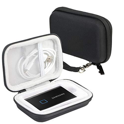 Khanka Hart Tasche Case für Samsung T7 Touch/ T7 Portable SSD 500GB 1TB 2TB. (Für 1 SSD, Schwarz)