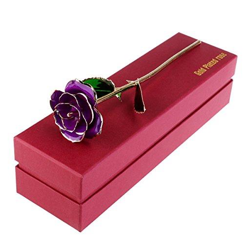 LUOEM 24K Rose Fleur avec boîte cadeau pour mariage la Saint Valentin des Mères (Violet)