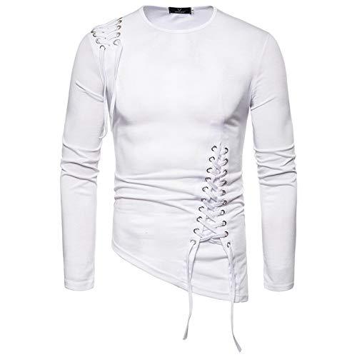LSSM Moda De Primavera Y OtoñO Camiseta De Manga Larga Irregular Delgada De Moda Camiseta De Manga Larga Shirt Camisa De Lino con Manga Corte Entallado Y Estampado para Regular-Fit Blanco S