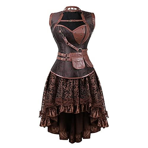 Zimuuy Damen Piratenkostüm Faschingskostüme Karneval-Kostüm Cowboy-Kostüm Leder-Bandeau-Kleid Vintage Tunikakleid Punk Kleidung(Braun,S)