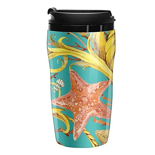 Botella de agua Tropical Seashell y Coral Travel Coffee Cups Tazas con tapa