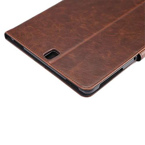 Para el Galaxy Tab S3 9,7 caso cuero de la PU cubierta de la caja del titular Stand con correa de mano y ranura de la tarjeta para Galaxy Tab S3 9,7 pulgadas sm-t820 t825 con auto función (Dark Brown)