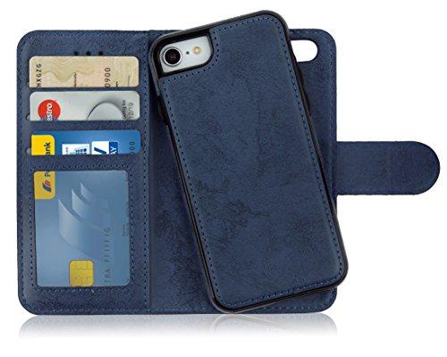 MyGadget Flip Case Handyhülle für Apple iPhone 7/8 / SE 2020 - Magnetische Hülle in PU Leder Klapphülle - Kartenfach Schutzhülle Wallet - Blau