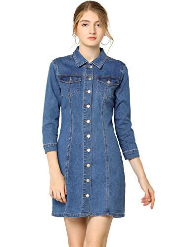 Allegra K - Vestido vaquero de manga 3/4 y manga superior para mujer azul 44