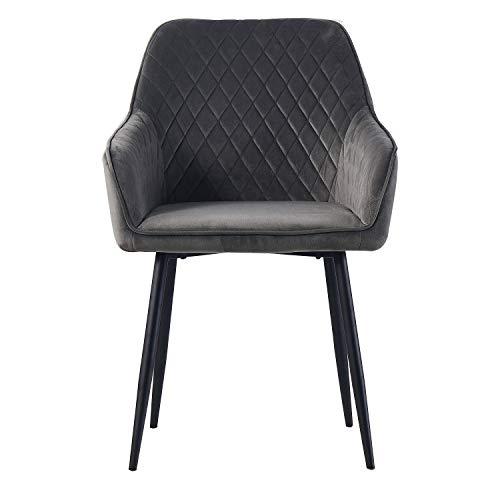 1X grau Esszimmerstuhl aus Stoff (Samt) Wohnzimmerstuhl Farbauswahl Retro Design Armlehnstuhl Stuhl mit Rückenlehne Sessel Metallbeine Schwarz (Gray, 1)
