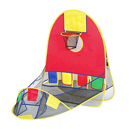 FDY Tienda De Aro Baloncesto Plegable Pop Up Tienda De Campaña para Niños Piscina Bolas Playa Juguetes Niños Muchachas Niñito con Bolsa Almacenamiento Interior (Rojo)