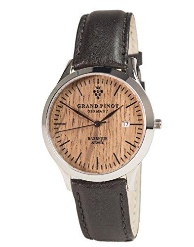 Grand Pinot Uhr Herren Heritage Edition ETA2824-2 (42 mm) Silber/Barriquefass mit schwarzem Lederarmband