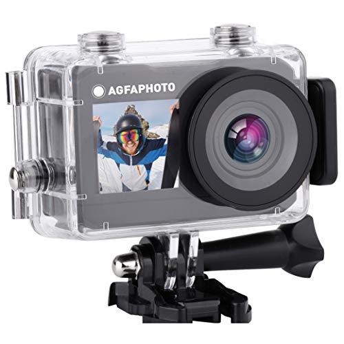 Agfaphoto Realimove AC7000 - Cámara de acción Digital Impermeable 30 m (True 2.7K, 16 MP, Doble Pantalla LCD, batería de Litio, 10 Accesorios incluidos, WiFi) Negro